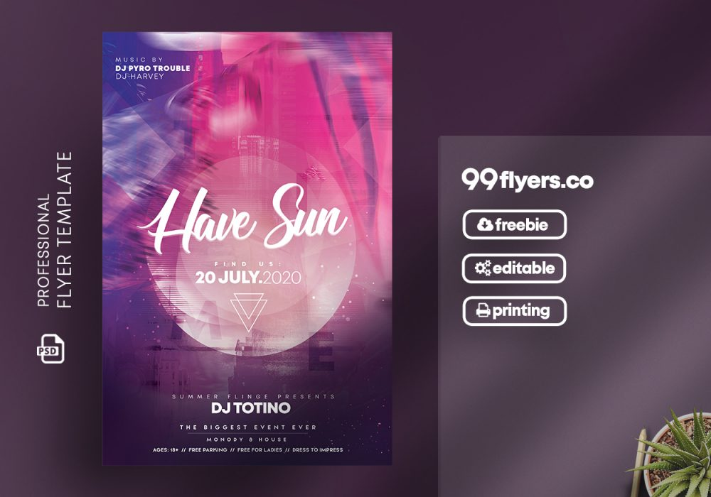 Music Club Party Flyer - Free PSD Template
