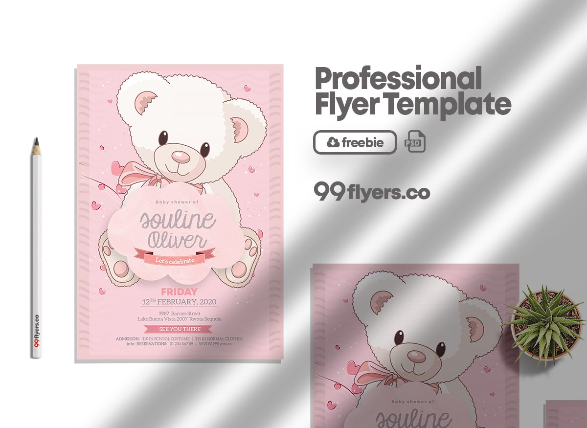 New Born Baby Girl - Free PSD Flyer Template