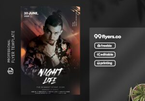 Night Life Vibe Flyer Free PSD Template