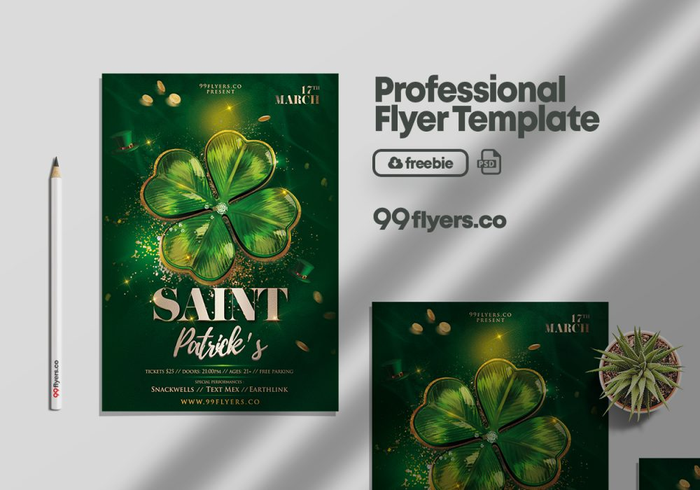 Saint Patrick's Day Flyer - Free PSD Template