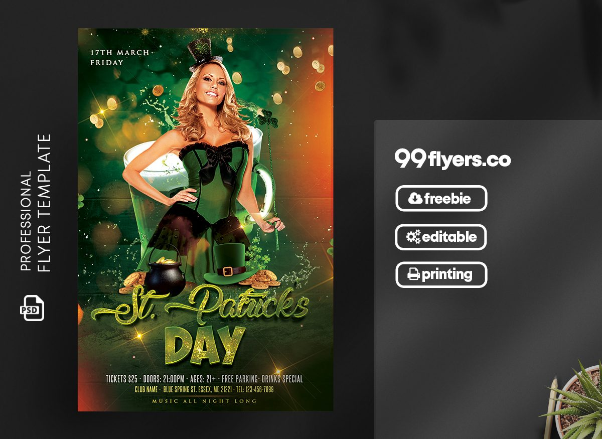 St Patricks Day Flyer - Free PSD Template