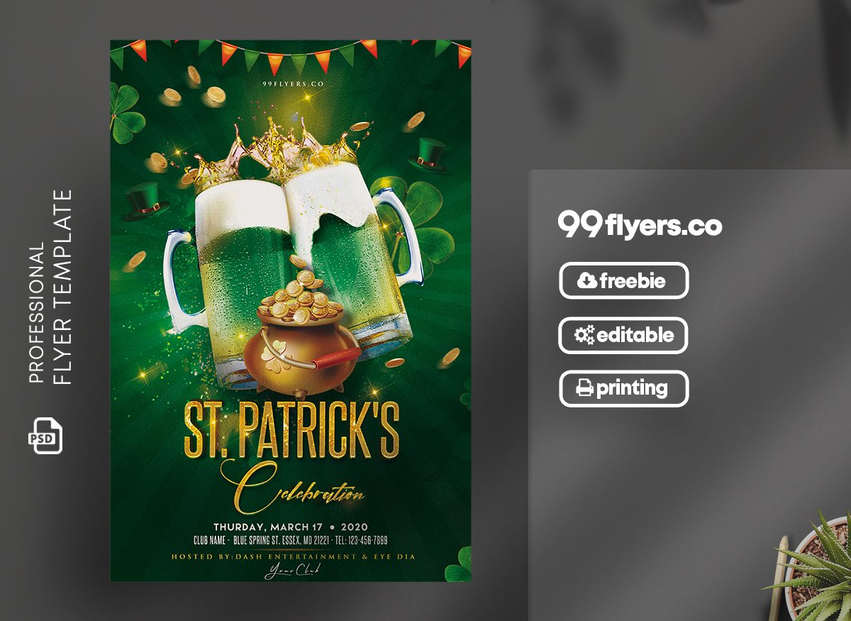 St. Patrick's Celebration Flyer Free PSD Template