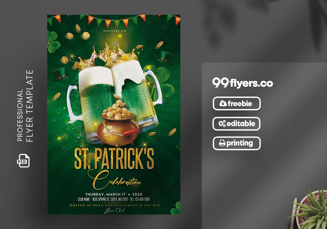 St. Patrick's Celebration Flyer Free PSD Template
