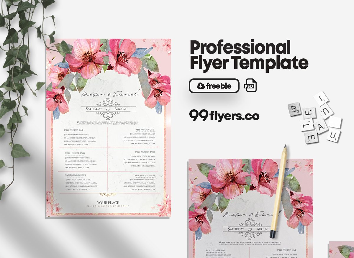 Wedding Check List - Free PSD Flyer Template