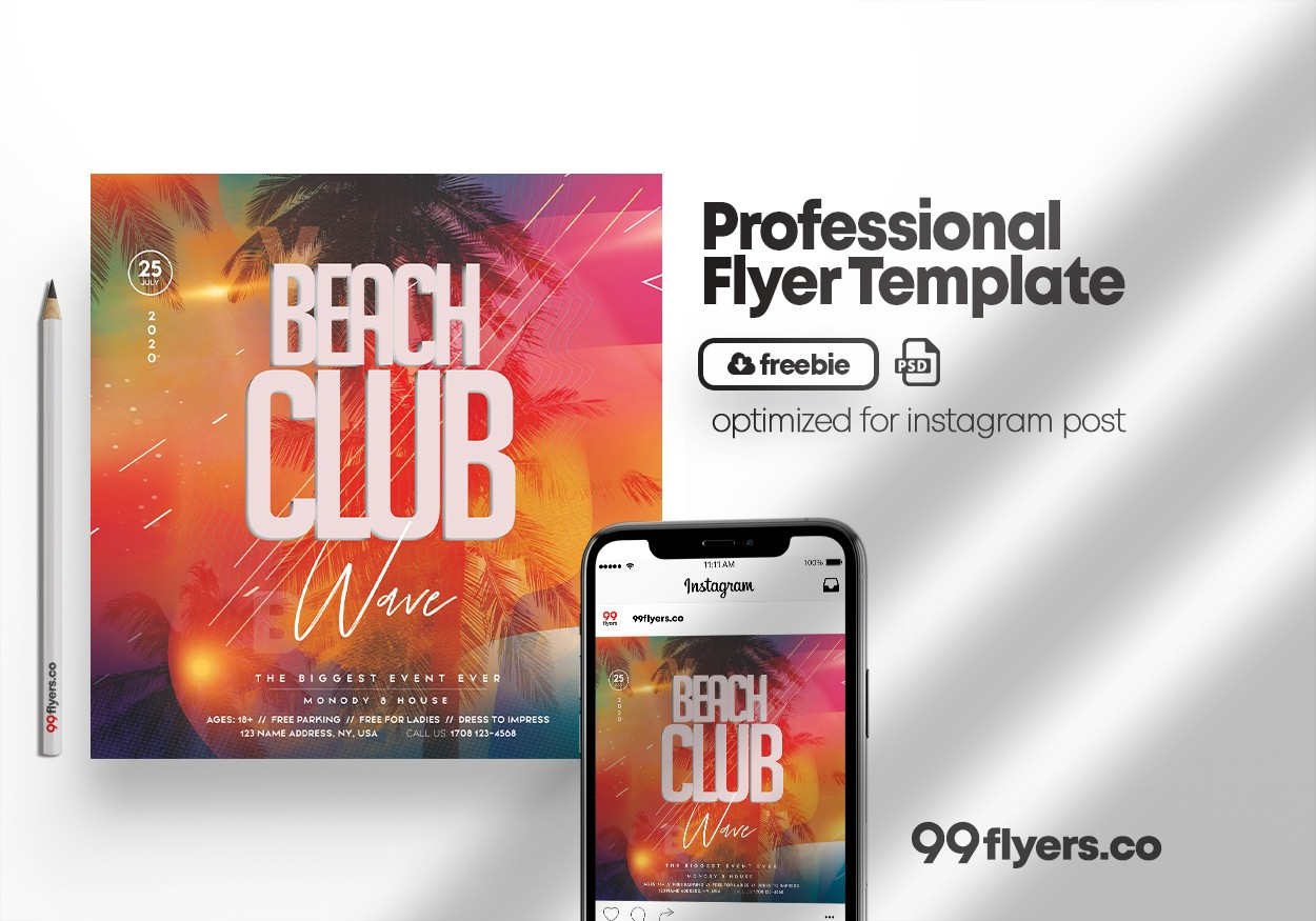 Beach Club Party Flyer Free PSD Template