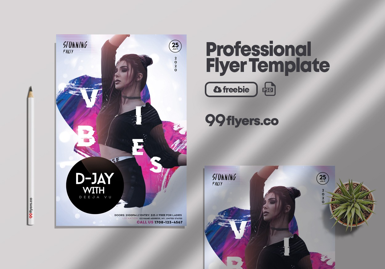 Club Night Vibe PSD Free Flyer Template vol2