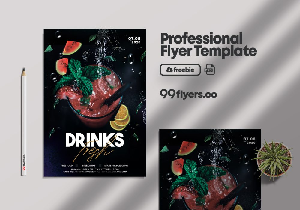 Cocktails Night Party Flyer Free PSD Template