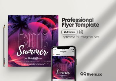 Exotic Summer Party Free PSD Instagram Post Template