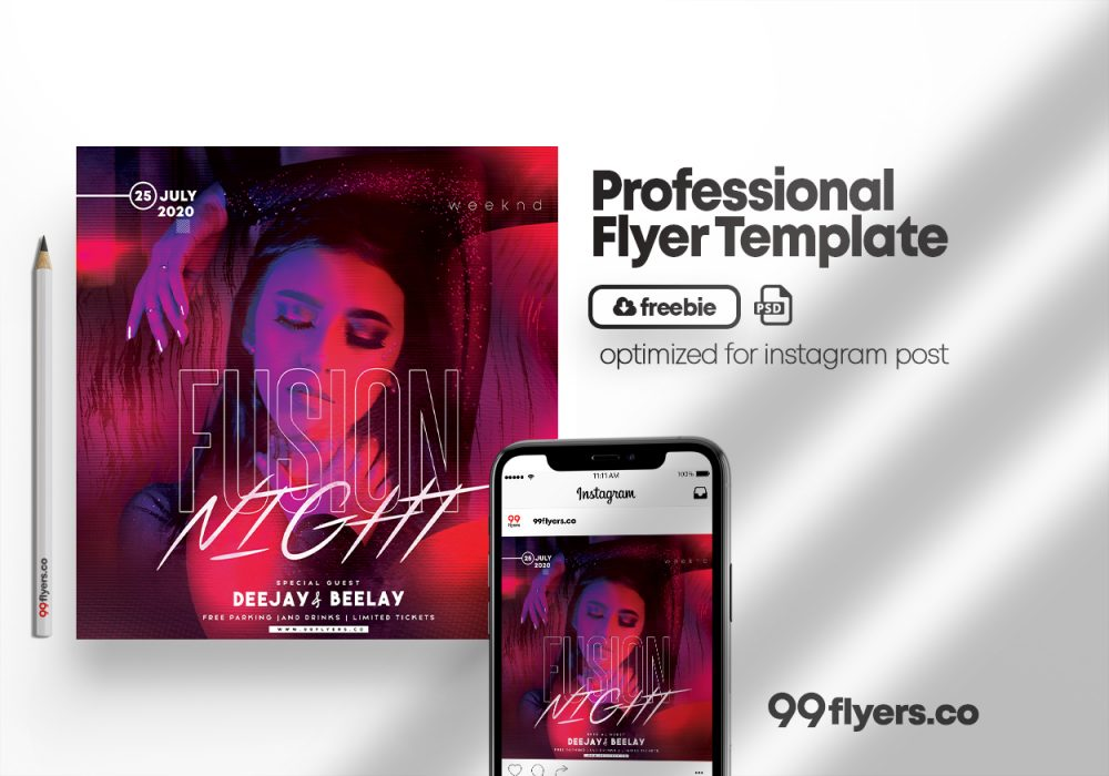 Fusion Night - Free Party PSD Flyer Template