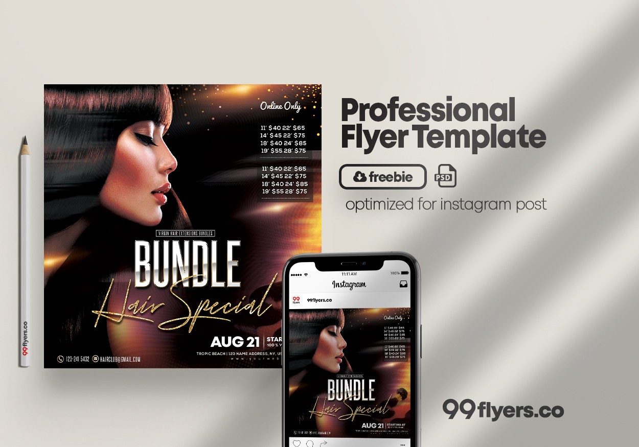 Hair Bundles Flyer Free PSD Template