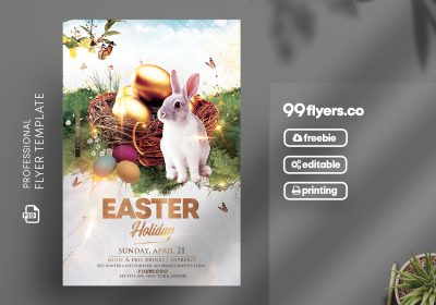 Happy Easter Event Flyer Free PSD Template