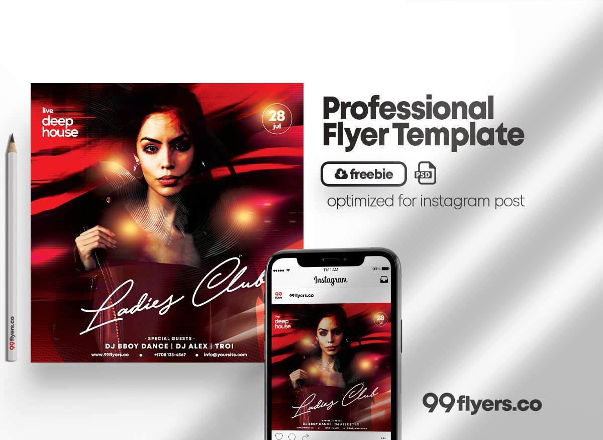 Ladies Club Night Party Free PSD Flyer Template