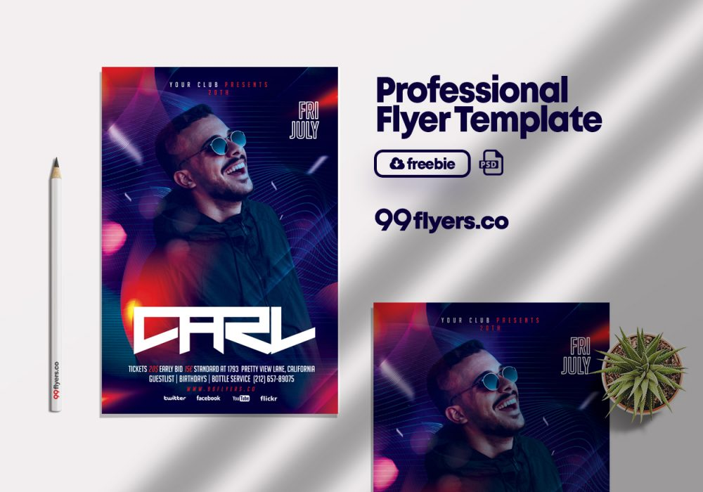 Night Club Event Party Flyer Free PSD Template