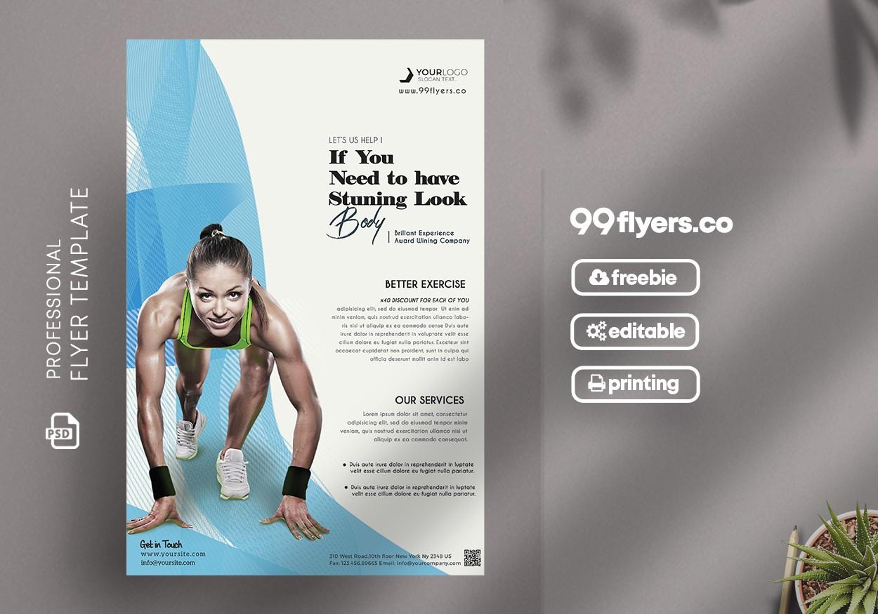 Sport Fitness Flyer - Free PSD Template