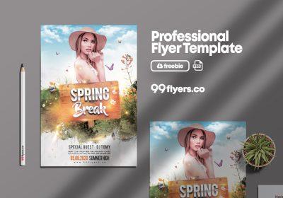 Spring Break Event Free PSD Flyer Template