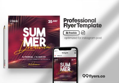 Summer Dreaming Party Flyer - Free PSD Template