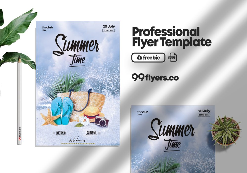 Summer Splash Party Free PSD Template