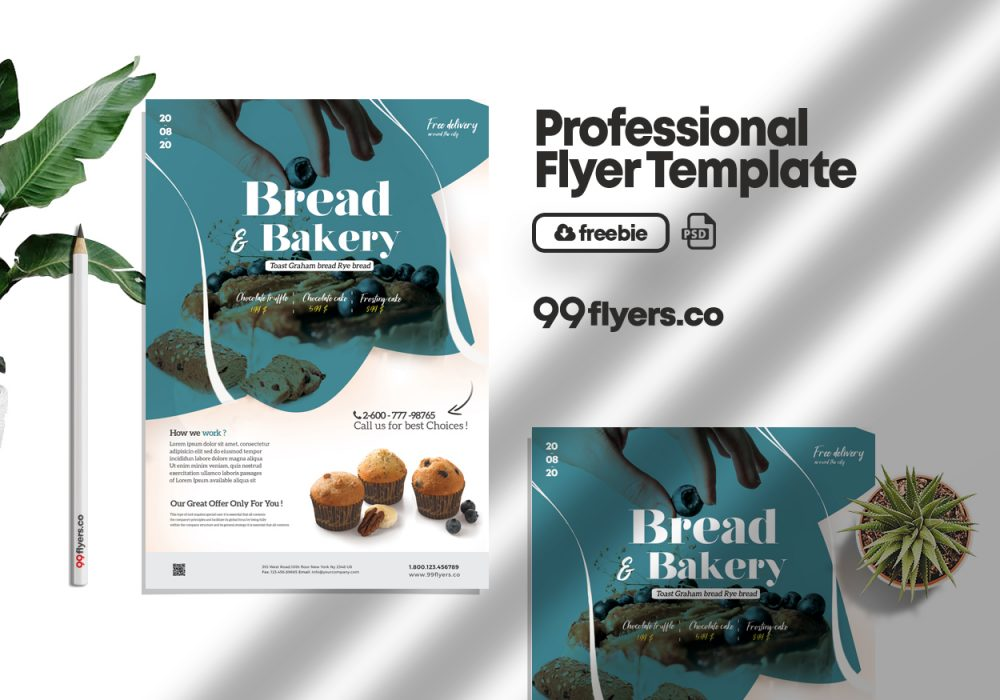 Bakery & Cupcake Flyer Free PSD Template