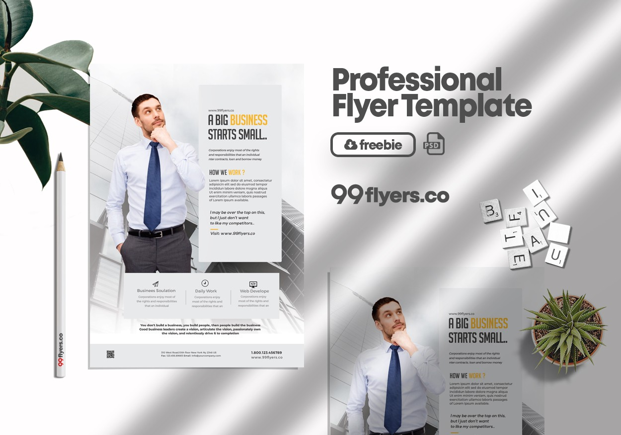 Clean Business Ad Free PSD Flyer Template