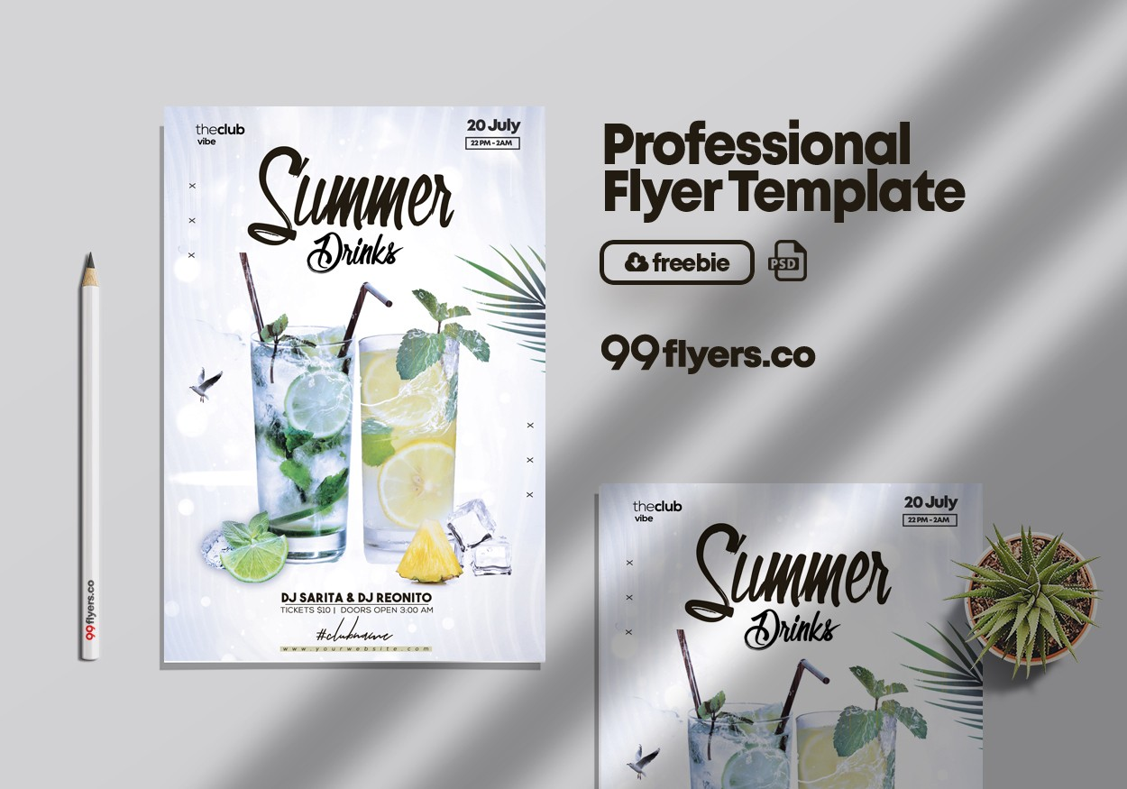 Drink Event Invitation Flyer - Free PSD Template