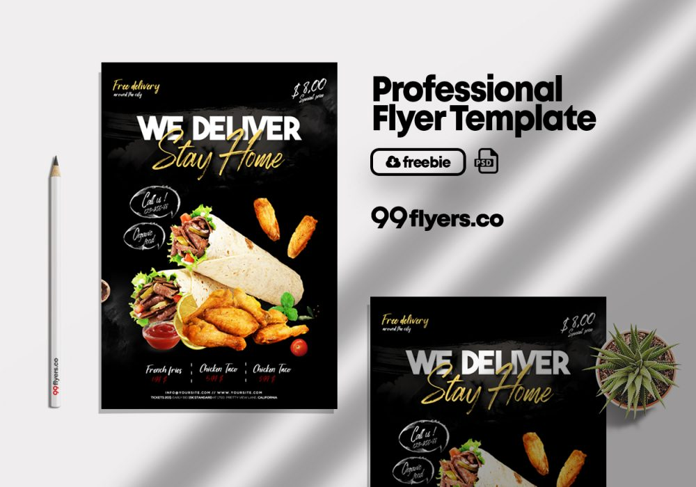 Home Delivery Food Flyer Free PSD Template