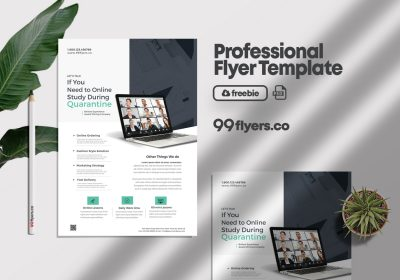 Online Home Learning Flyer Free PSD Tamplete