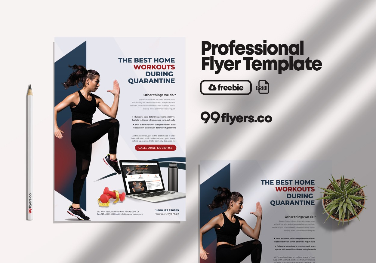 Online Personal Training & Workouts Free PSD Flyer Template