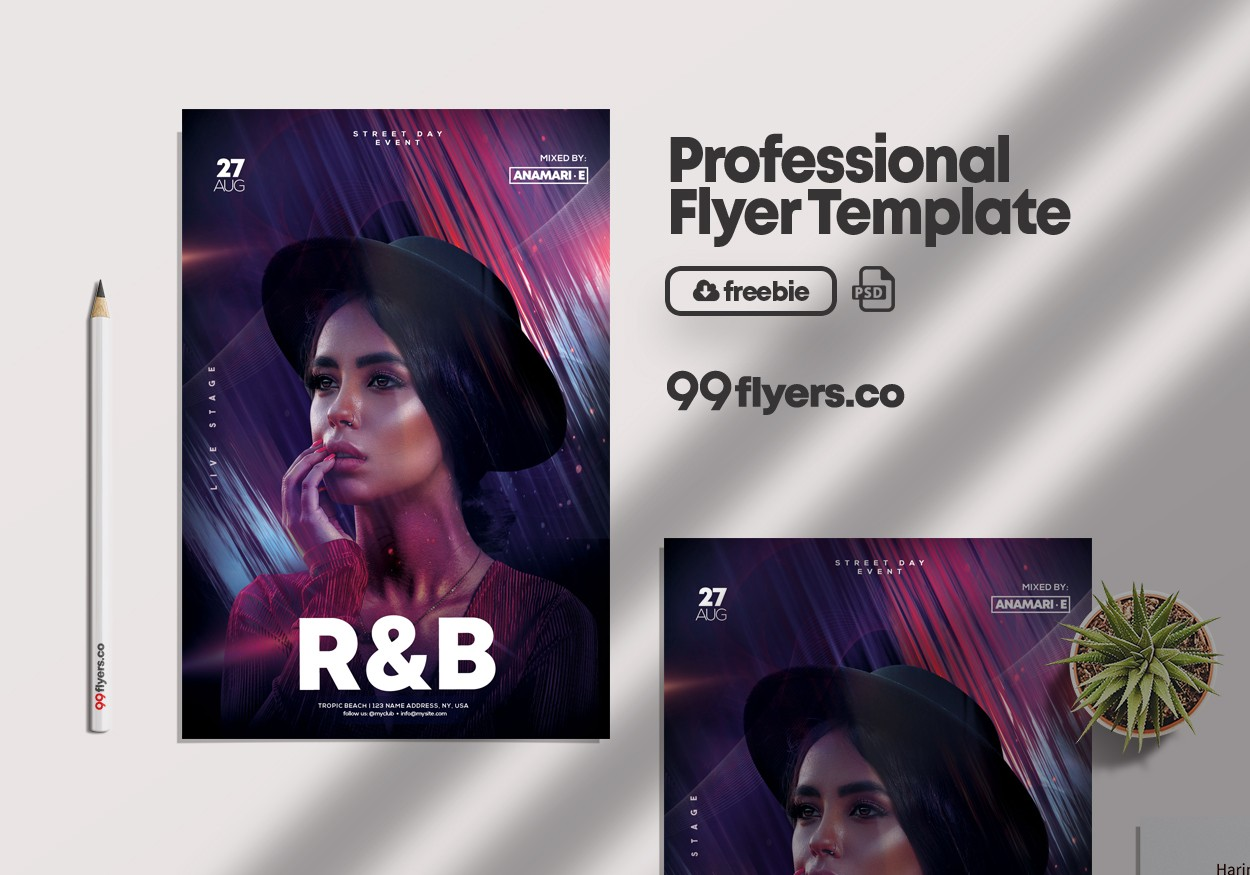 R&B Weekend Event Free PSD Flyer Template