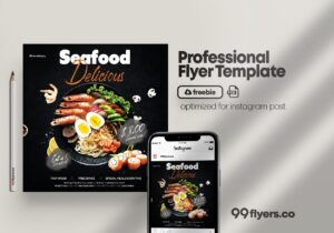 Seafood Online Ordering Food Flyer Free PSD Template