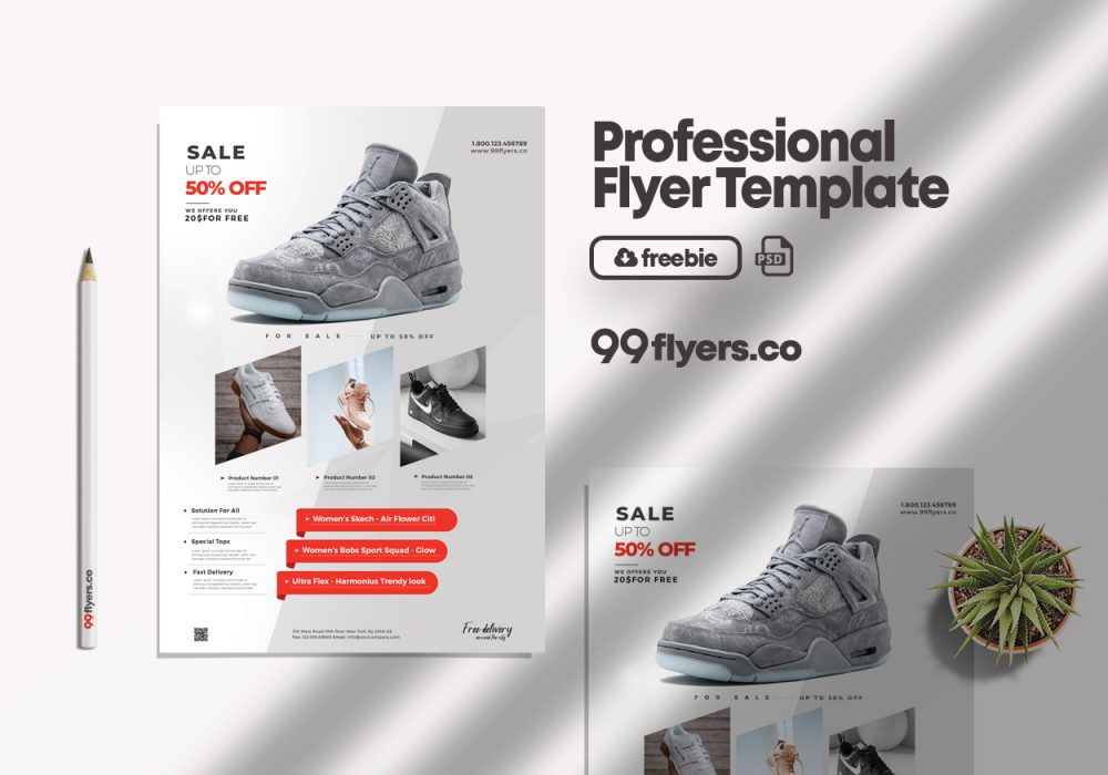 Shoe Sale AD Free PSD Flyer Template