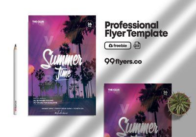 Hello Summer Party Free PSD Flyer Template