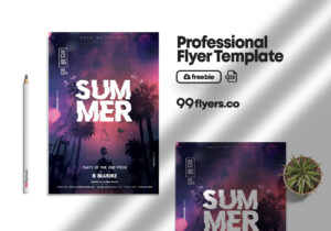 Summer Club Party Free PSD Flyer Template