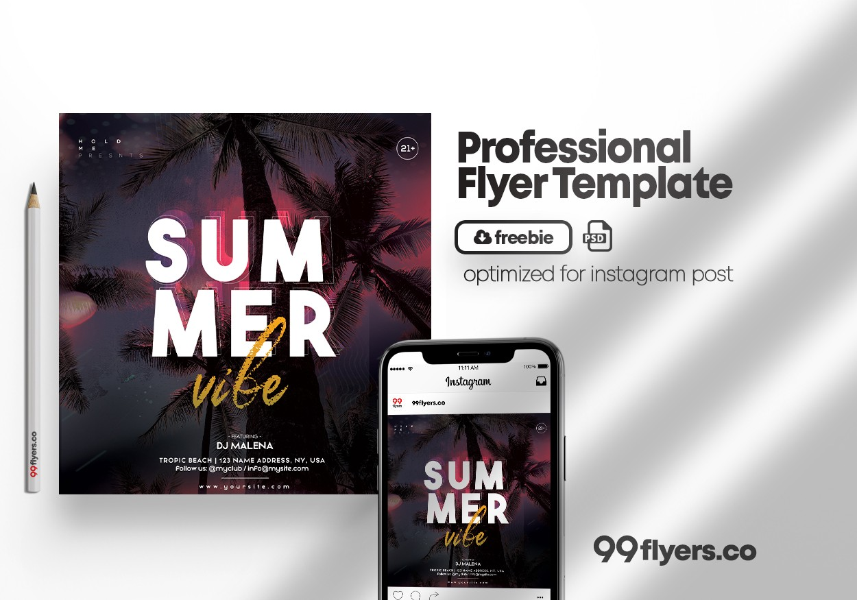 Summer Time Vibe Flyer Free PSD Template