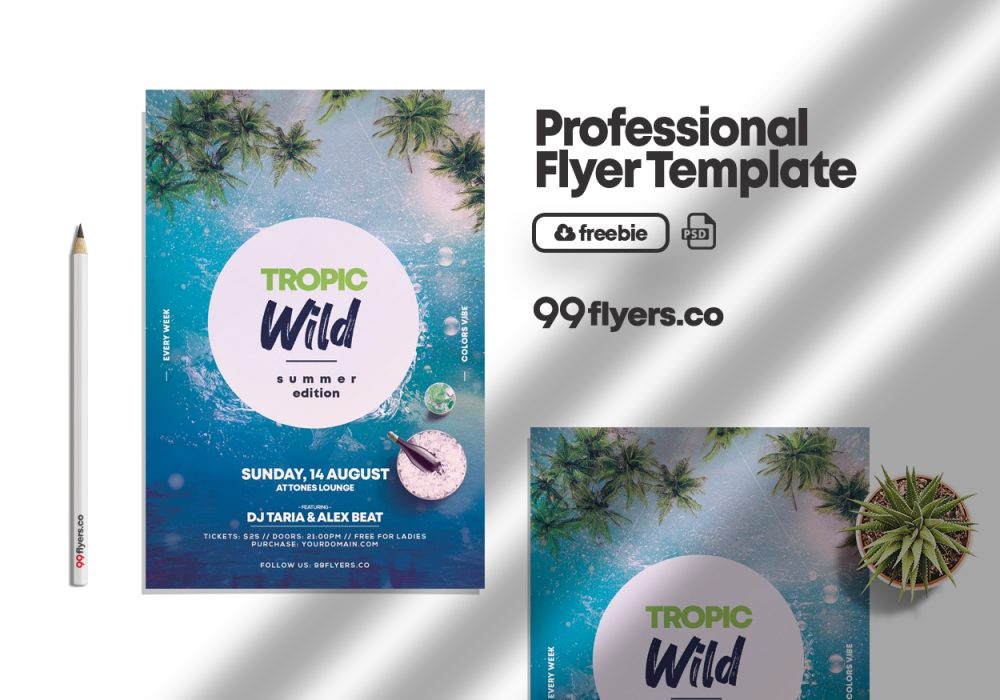 Wild Summer Party Free PSD Flyer Template