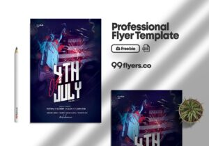 Independence Day 4th July Flyer Free PSD Template