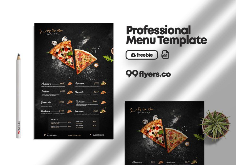 Restaurant Food Menu Free PSD Template