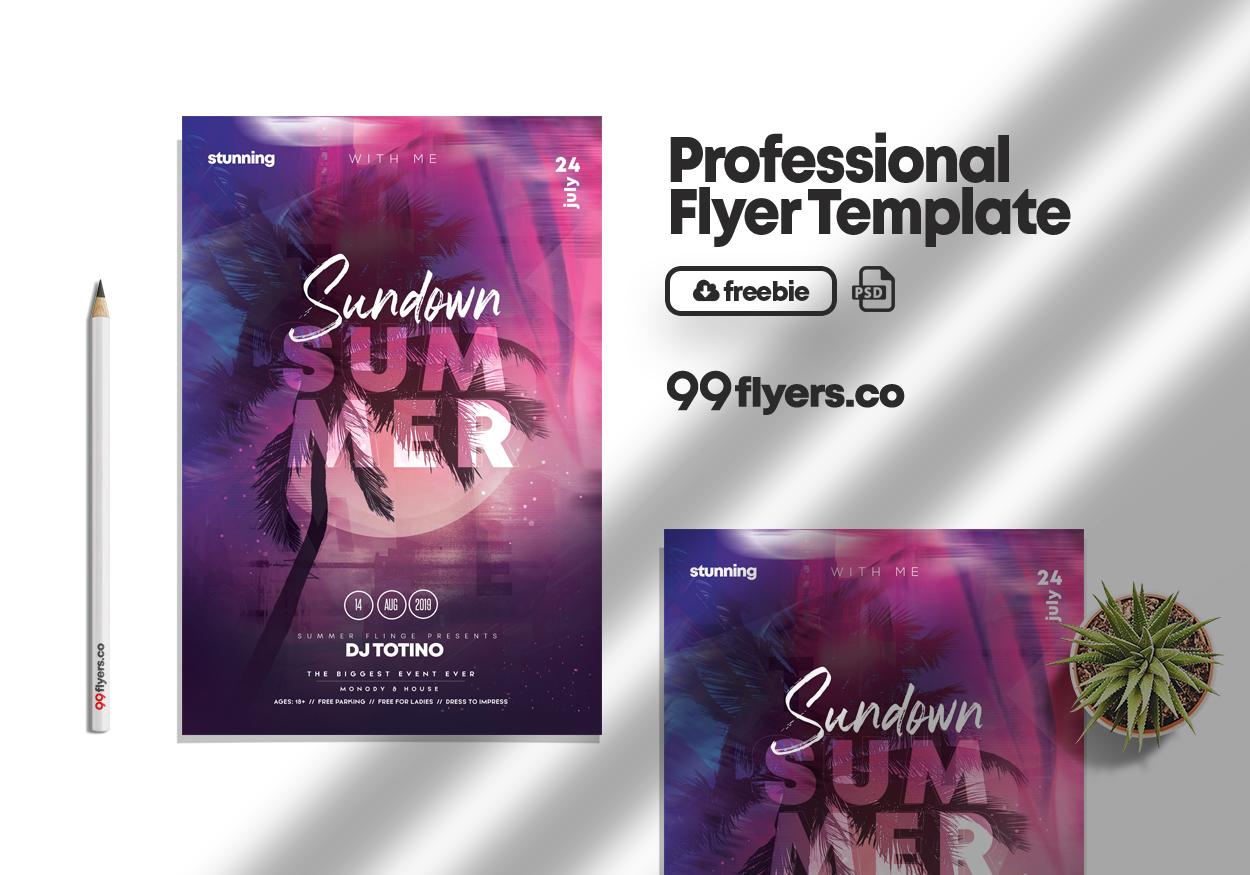 Sundown Summer Event Free PSD Flyer Template
