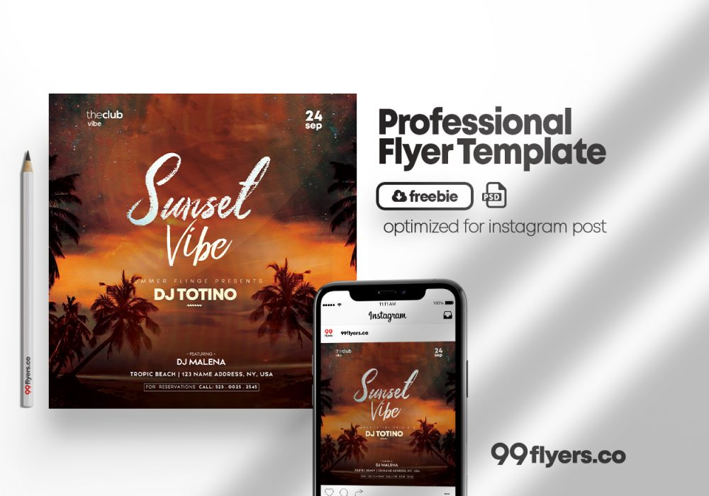 Sunset Event Free Flyer Template (PSD)
