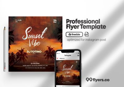 Sunset Event Free Flyer Template (PSD)