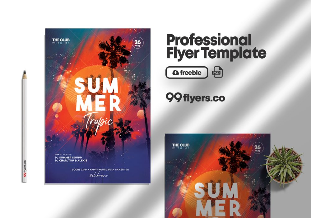Tropic Party Summer Event Free PSD Template