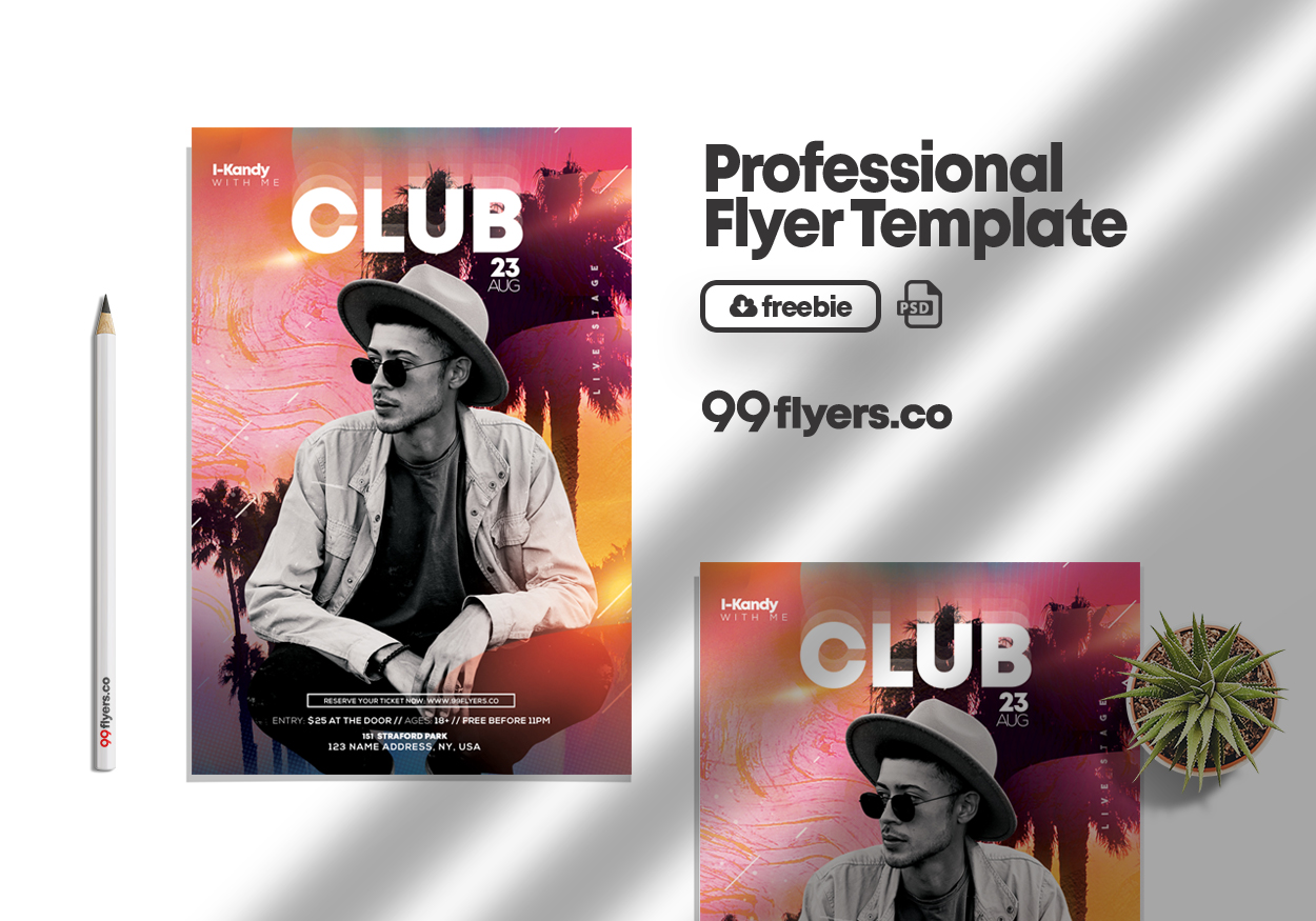 Blume Night Club Party Free PSD Flyer Template
