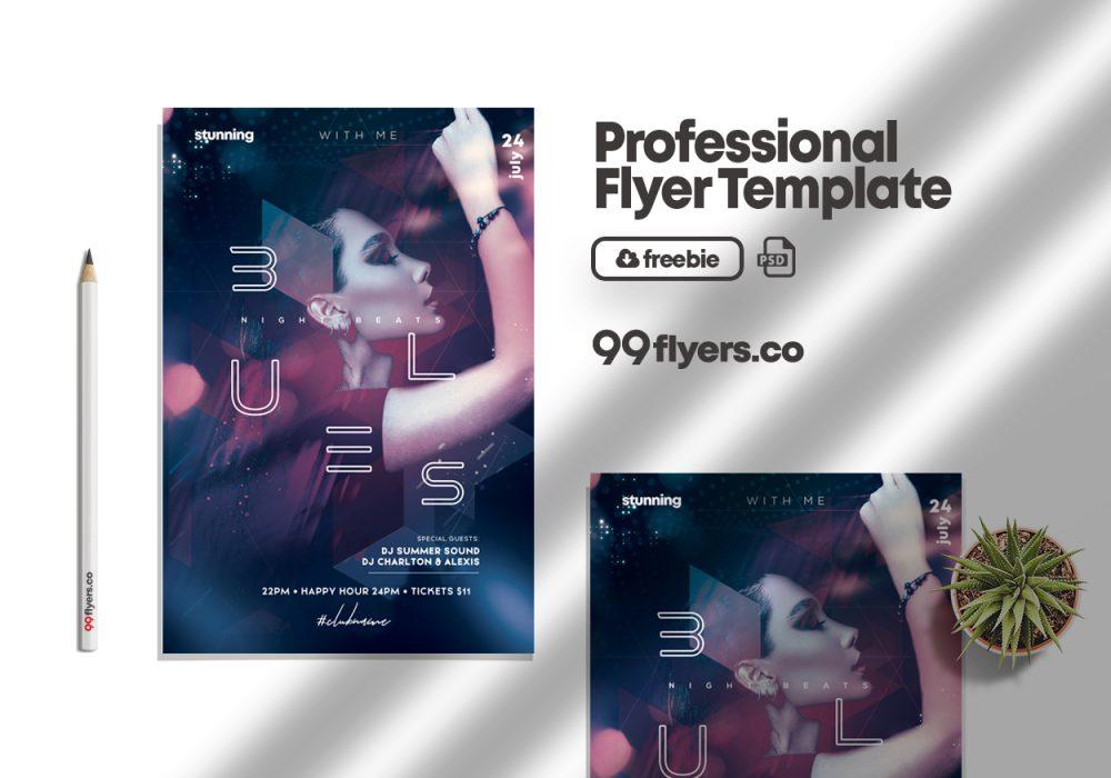 Night Beats Event Flyer Free PSD Template