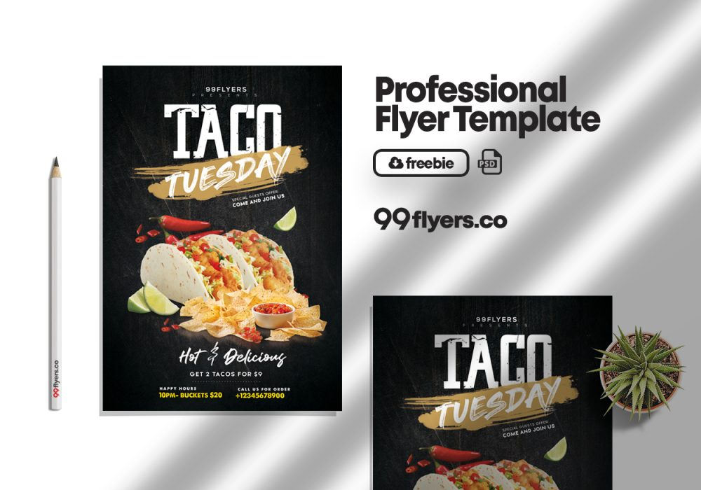 Taco Tuesday Party Flyer Free PSD Template