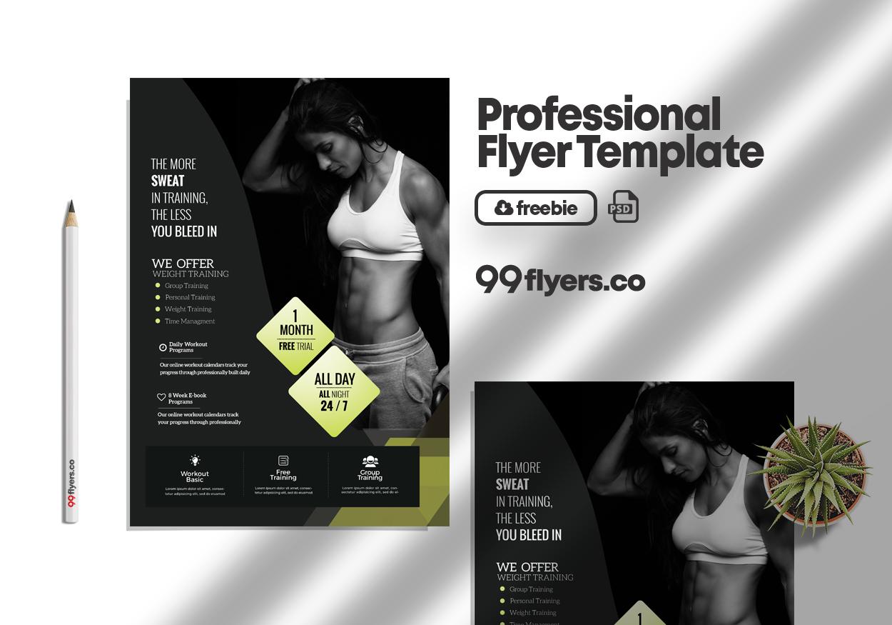 Fat Burns Fitness Flyer Free PSD Template