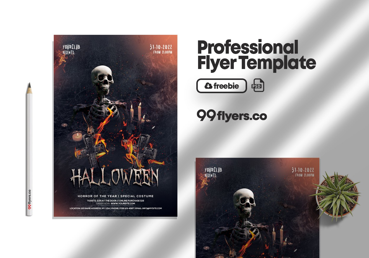 Halloween Fright Night Party Free PSD Flyer Template