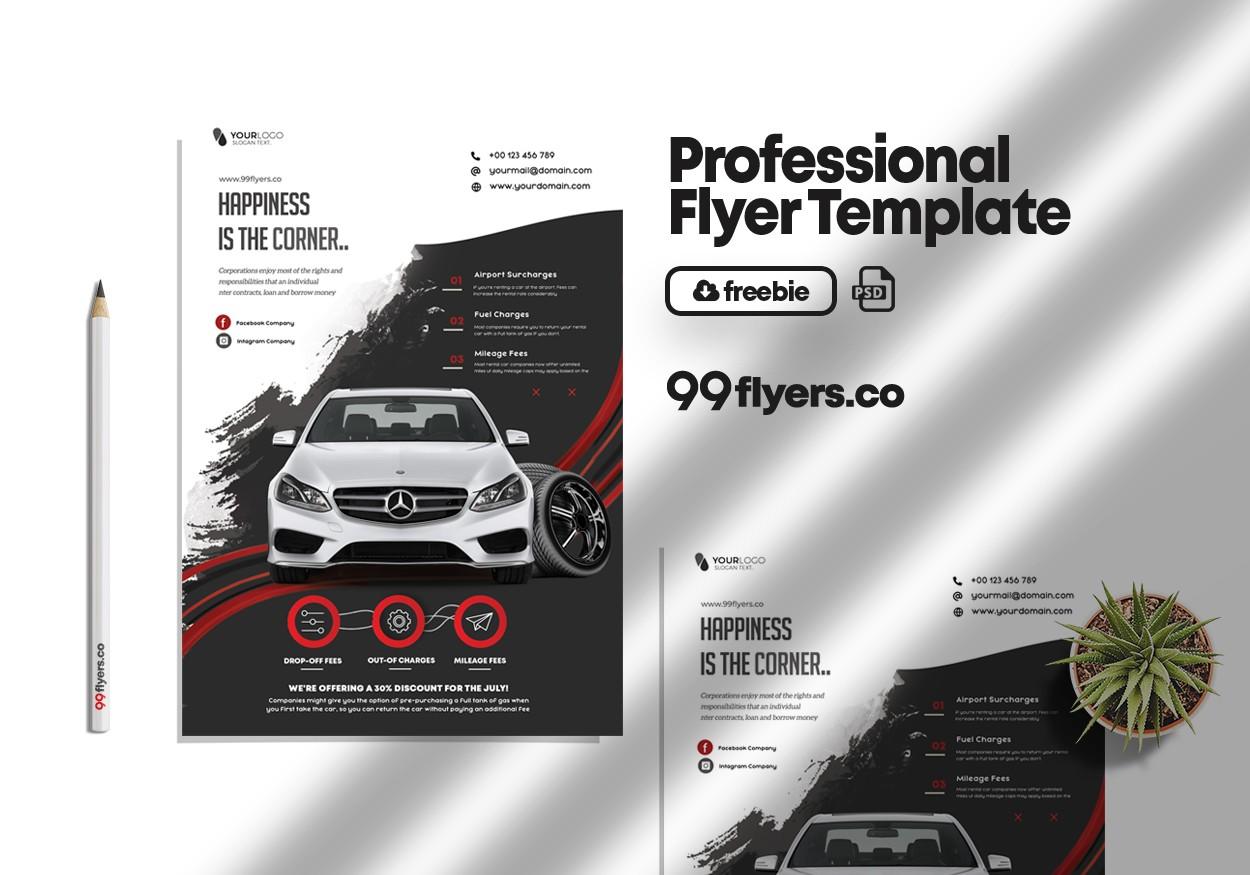 Rent a Car Free PSD Flyer Template