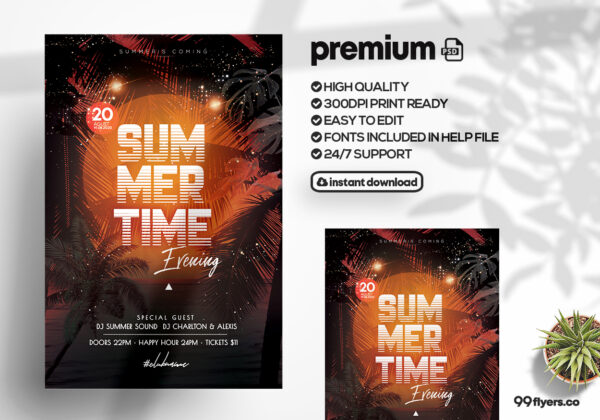 Summer Time Event PSD Flyer Template