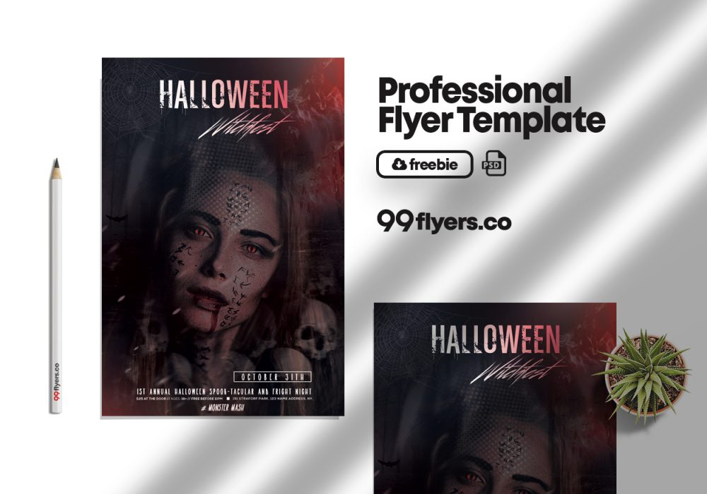 Halloween Witchfest Party Flyer Free PSD Template