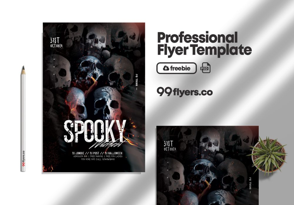 Party or Die Halloween Flyer Free PSD Template