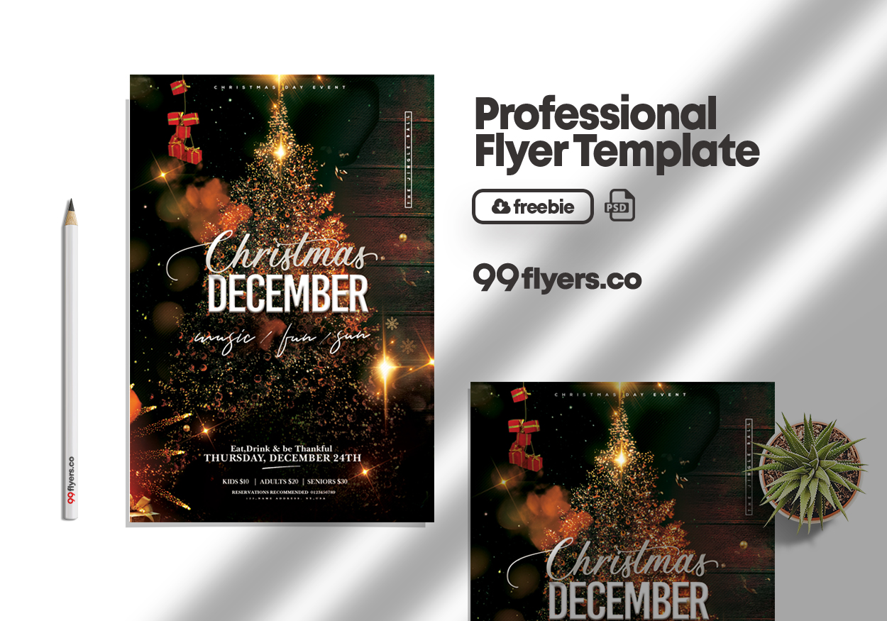 Christmas Holiday Event Free PSD Flyer Template